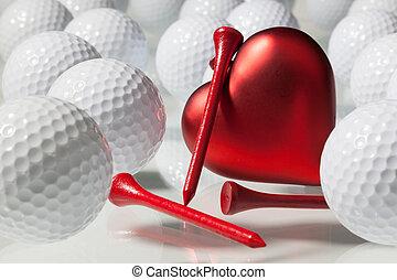 szív, herék, golf, piros, sok