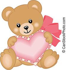 szív, hord, csinos, teddy-mackó