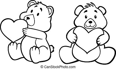 szív, hord, teddy-mackó