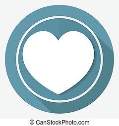 szív, Hosszú, karika, emberi, árnyék, fehér, ikon