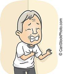 szív, idősebb ember, támad