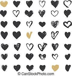 szív, ikonok, állhatatos, kéz, húzott, ikonok, és, ábra, helyett, valentines nap