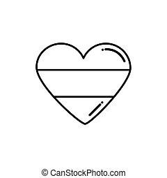 szív, irish lobogó, alakú, mód, ikon, lakás