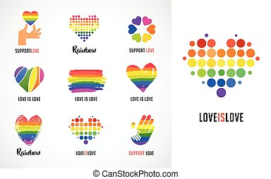 szív, jelkép, buzi, gyűjtés, jel, lgbt, szivárvány, kézbesít, ikonok