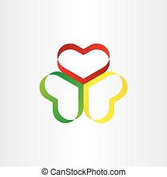 szív, jelkép, tervezés, színes, szalag