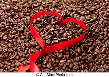 szív, kávébab, alakít, háttér, szalag