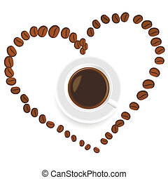 szív, kávécserje, belső, csésze
