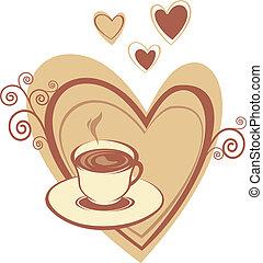 szív, kávéscsésze