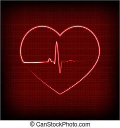 szív, képben látható, egy, kardiogram