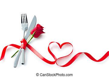 szív, kés, villa, ezüstnemű, kanál, alakít, piros, kedves, szalag