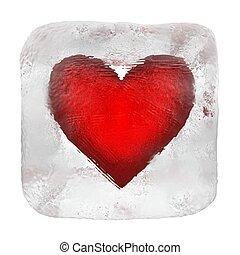 szív, köb, jég