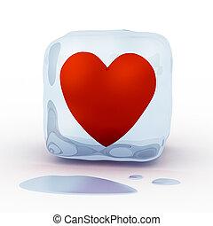 szív, köb, piros, jég