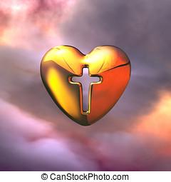 szív, közül, isten, jámbor, kereszt