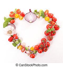 szív, közül, növényi