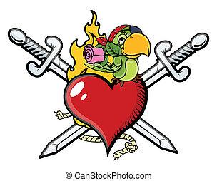 szív, kard, papagáj, kalóz