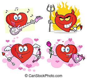 szív, karikatúra, betűk