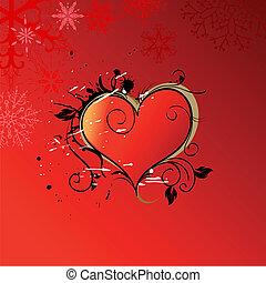 szív, kedves, nap, háttér