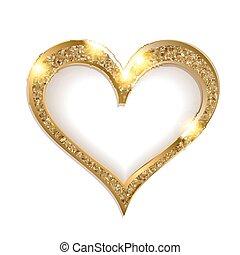 szív, keret, white háttér, arany