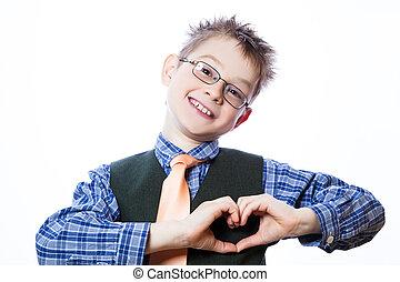 szív, kicsi fiú, jelkép, trikó, gyártás