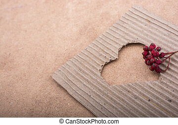 szív, kivág, kartonpapír, alakú