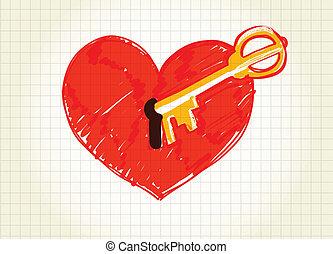 szív, kulcs, nyílás