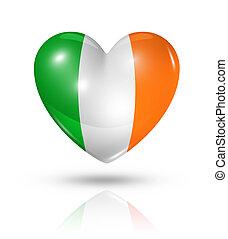 szív, lobogó, írország, szeret, ikon