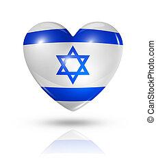 szív, lobogó, izrael, szeret, ikon