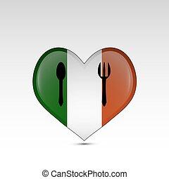 szív, lobogó, olaszország, alakú