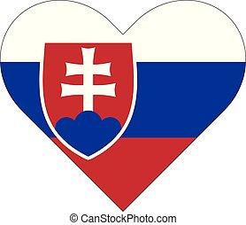 szív, lobogó, slovakia, alakú