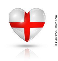 szív, lobogó, szeret, anglia, ikon
