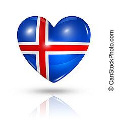 szív, lobogó, szeret, izland, ikon