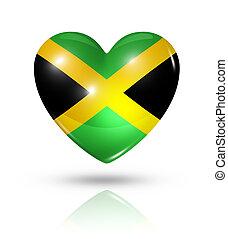 szív, lobogó, szeret, jamaica, ikon