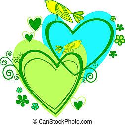 szív, love:, madarak, két