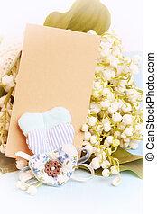 szív, mód, szeret, kopott, mother's, kedves, nemes, kíván, retro, háttér, esküvő, hóvirág, sikk, nap, kártya