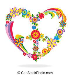 szív, menstruáció, elkészített, béke cégtábla