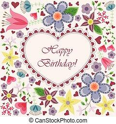 szív, menstruáció, születésnap kártya, boldog