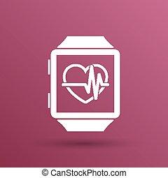 szív, monitor, karóra, pulsometer, Ábra, arány, vektor, ikon...