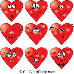 szív, mosoly, fordíts, valentine nap