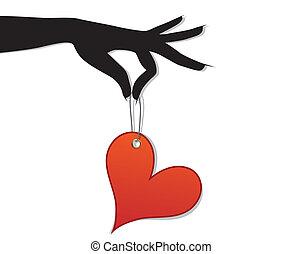szív, nő, befolyás, szeret, piros