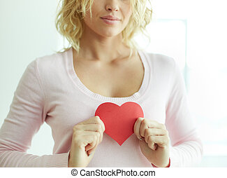 szív, női, piros