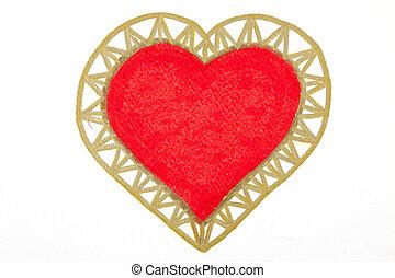 szív, nagy, felett, háttér., fehér, festmény, piros