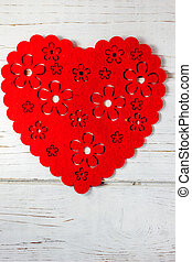 szív, nagy, felett, háttér., white piros