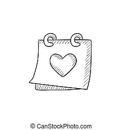 szív, naptár, skicc, icon.