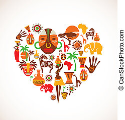 szív, noha, afrika, vektor, ikonok