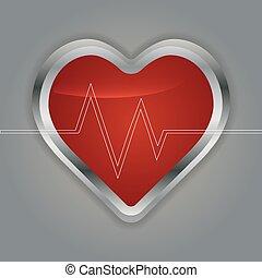 szív, noha, ecg, és, noha, elektrokardiogramm, megtölt.