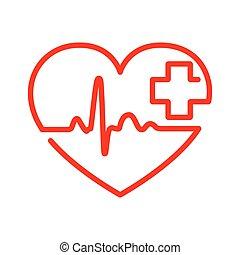 szív, noha, szívdobbanás, aláír, és, noha, cross., vektor,...