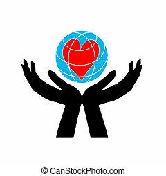 szív, peace., általános, bolygó, emberi, földdel feltölt, kép, hands.