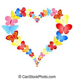 szív, pillangók, keret, kedves