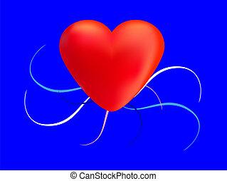 szív, piros, noha, szín, örvény