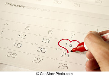 szív, rajzol, calendar-, 14, alakít, február, piros, ember
